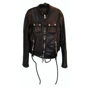 DSQUARED2 men's black leather biker jacket